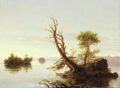 American Lake Scene Art Print by Thomas Cole