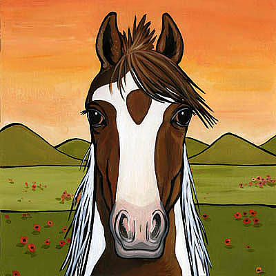 Pinto Painting - American National Show Horse by Leanne Wilkes