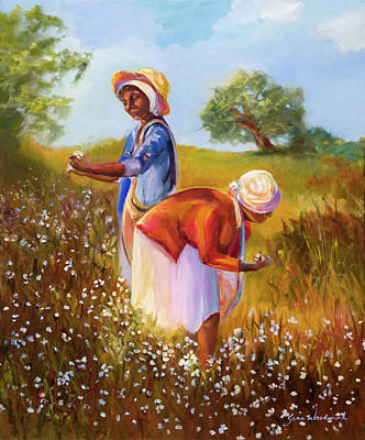 Cotton Fields Painting - American Pickers by Jane Woodward