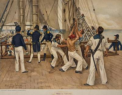 American Sailors And Officers On Deck Art Print