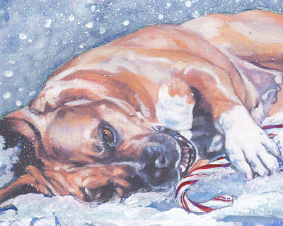 Painting - American Staffordshire Terrier Christmas by Lee Ann Shepard