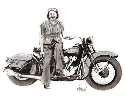 Harley Davidson Motorcycle Painting - American Woman by Ferrel Cordle