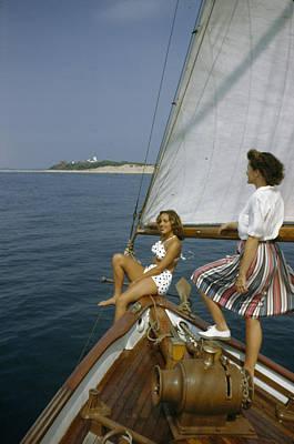 American Women Sail Off Of The Coast Art Print