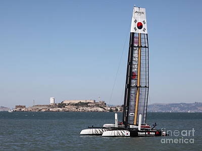 Alcatraz Photograph - America's Cup In San Francisco - Korea White Tiger Sailboat - 5d18212 by Wingsdomain Art and Photography