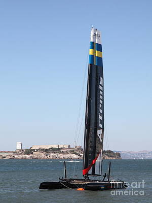 Alcatraz Photograph - America's Cup In San Francisco - Sweden Artemis Racing White Sailboat - 5d18250 by Wingsdomain Art and Photography