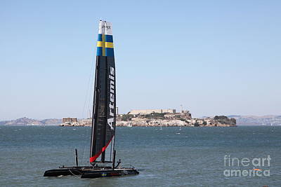 Alcatraz Photograph - America's Cup In San Francisco - Sweden Artemis Racing White Sailboat - 5d18256 by Wingsdomain Art and Photography