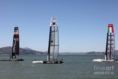 Tigers Photograph - America's Cup Racing Sailboats In The San Francisco Bay - 5d18237 by Wingsdomain Art and Photography