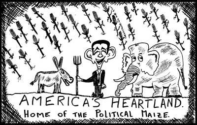 Thedailydose.com Drawing - America's Heartland Political Maize by Yasha Harari