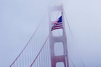 Abstract Beach Landscape Digital Art - Ameriican Flag On San Fransisco Bridge by Don Mann