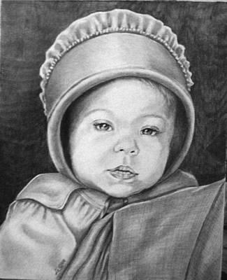 Amish Drawing - Amish Baby by Loretta Orr