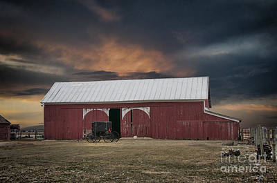 Angels And Cherubs - Amish Barn before the Storm by David Arment