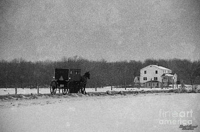 Amish Photograph - Amish Buggy Black And White by David Arment