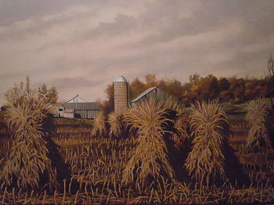 Amish Farm In Autumn Art Print by James Guentner
