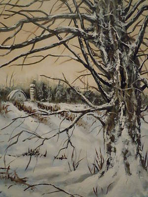 Art Print featuring the painting Amish Farm In Winter by James Guentner