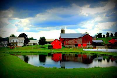 Amish Farm Original by Mendell Patton
