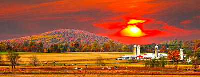 Amish Farm Sundown Art Print by Randall Branham