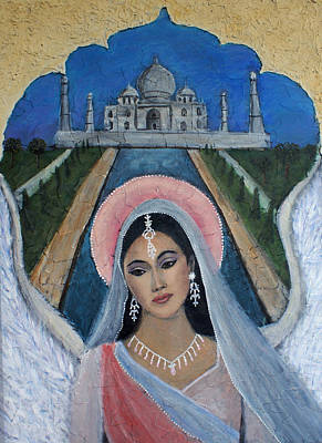 Spiritual Portrait Of Woman Painting - Amishi An Earth Angel Representing A Young Bride On Her Wedding Day by The Art With A Heart By Charlotte Phillips