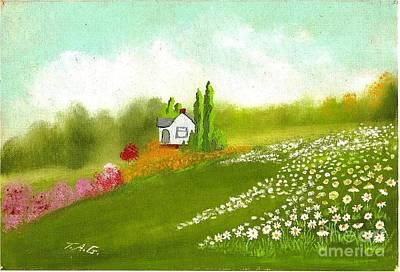 Among Daisies Art Print