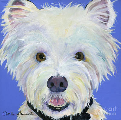 Dog And Toy Painting - Amos by Pat Saunders-White