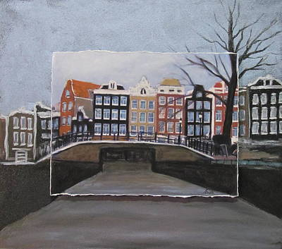 Amsterdam Bridge Layered Art Print by Anita Burgermeister