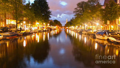 Amsterdam Canal At Night Art Print by Gregory Dyer
