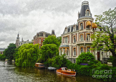 Amsterdam Canal Mansion Art Print by Gregory Dyer