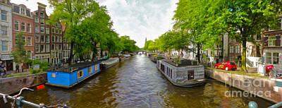 Amsterdam Canal Panorama Art Print by Gregory Dyer