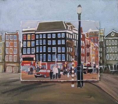 Mixed Media - Amsterdam Corner Layered by Anita Burgermeister