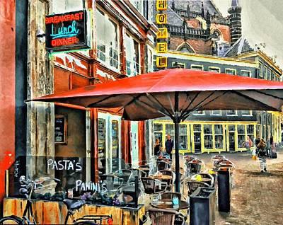 Amsterdam Digital Art - Amsterdam Tour  Street Cafe by Yury Malkov