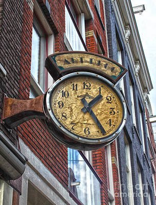 Amsterdam Vintage Deco Clock Sign Art Print by Gregory Dyer