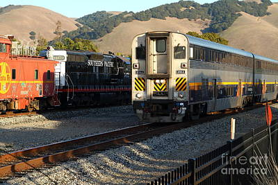 Niles Town Plaza Photograph - Amtrak Trains At The Niles Canyon Railway In Historic Niles District California . 7d10854 by Wingsdomain Art and Photography