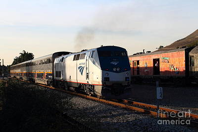 Niles Town Plaza Photograph - Amtrak Trains At The Niles Canyon Railway In Historic Niles District California . 7d10857 by Wingsdomain Art and Photography