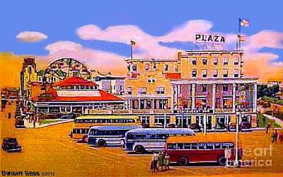 Painting - Amusement Park And Plaza Hotel In Asbury Park N J In 1940 by Dwight Goss