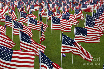 An Abundance Of American Flags Print by Stocktrek Images