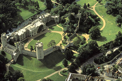 An Aerial View Of Warwick Castle Art Print by Richard Nowitz