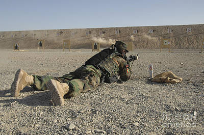 Afghan National Army Photograph - An Afghan Commando Engages Training by Stocktrek Images
