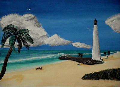 Cape Florida Lighthouse Painting - An Afternoon By The Lighthouse by Spencer Hudon II