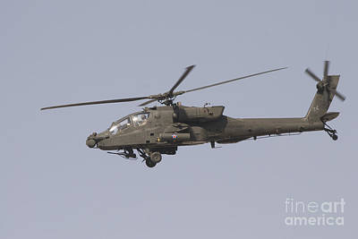 An Ah-64 Apache In Flight Art Print by Terry Moore