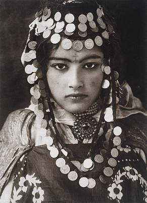 An Algerian Girl Wears A Dowry Of Gold Art Print by Lehnert and Landrock
