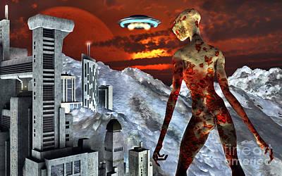 Lives Lost Digital Art - An Alien Being Overlooks Its Base Built by Mark Stevenson