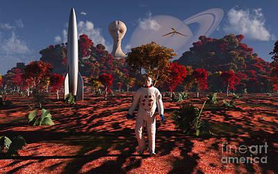 Rocketship Digital Art - An Alien Being Watches A Human by Mark Stevenson