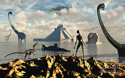 Extraterrestrial Existence Digital Art - An Alien World Where Reptoid Beings by Mark Stevenson
