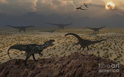 Plateau Digital Art - An Allosaurus Dinosaur Spies A Group by Mark Stevenson
