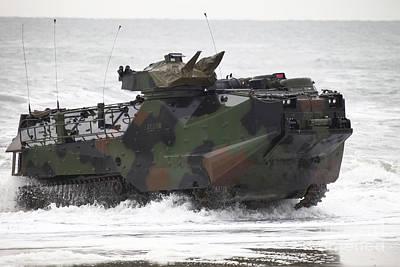 An Amphibious Assault Vehicle Drives Art Print