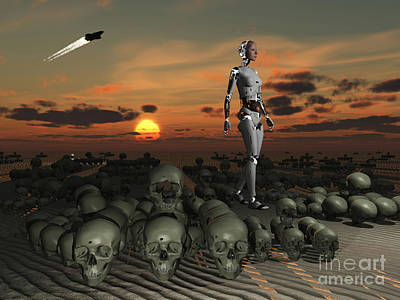 Extraterrestrial Existence Digital Art - An Android Walks Amongst A Pile by Mark Stevenson
