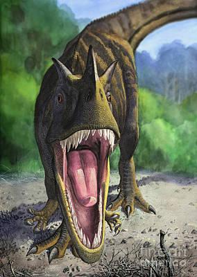 Looking At Camera Digital Art - An Angry Ceratosaurus Dentisulcatus by Sergey Krasovskiy