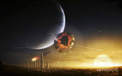 Collision Of Worlds Digital Art - An Apocalyptic Scene Showing A Gravity by Tobias Roetsch