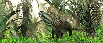 Triassic Digital Art - An Archosaur Wanders Amidst Cycads by Walter Myers