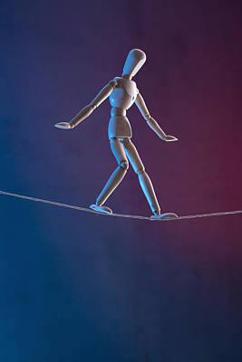 Tightrope Walking Photograph - An Artist's Figure Walking A Tightrope by Larry Washburn
