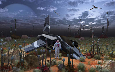 Science Fiction Royalty-Free and Rights-Managed Images - An Astronaut Surveys The Desert Like by Mark Stevenson